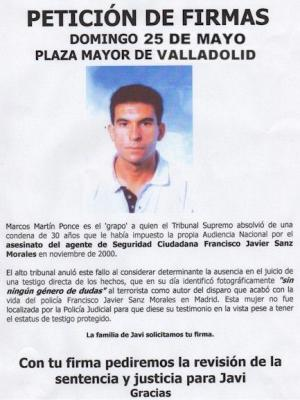 Recogida de firmas para la revisión del caso de Francisco Javier Sanz Morales